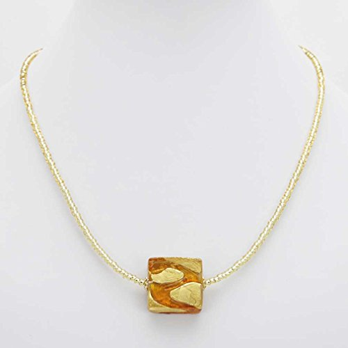 GlassOfVenice Murano Glass Royal Cognac Square Necklace