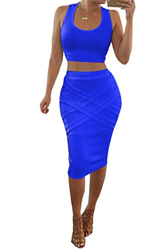 Womens Crop Top Midi Skirt Outfit Two Piece Bodycon Bandage Dress Small Blue