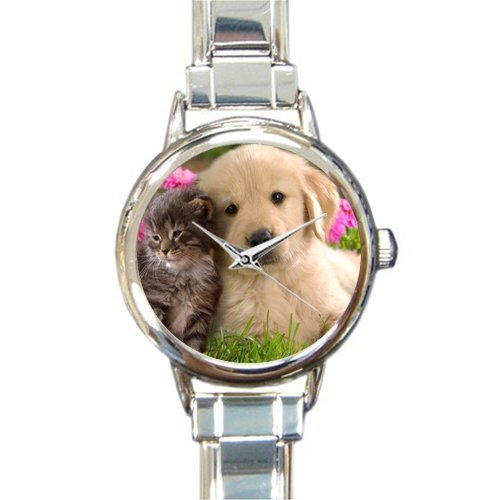 Mothers/Grandma Gifts Cute labrador retriever Dog With Cat Women's Round Italian Charm Watch