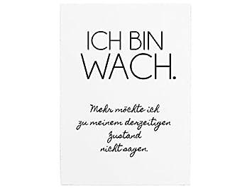 Wandtafel Holzschild Ich Bin Wach Lustig Spruch Motivation Krankheit