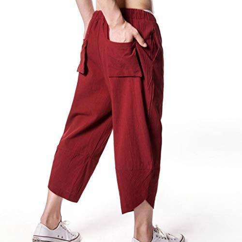 Chic De D'été Plage Sport Régulier Hommes Mode Couleur Cargo Lâche Rouge Loisirs Long Formation Lin Décontracté Solide Pantalon Survêtement vgAzxz