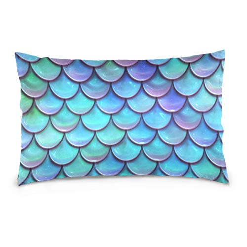 SLHFPX Mermaid Scales Blue Cotton Pillowcase Twin Sides Throw Pillow Cover Case Protector Decorative for Couch Bed Set of 2 Standard Size 20 x 26 Inch