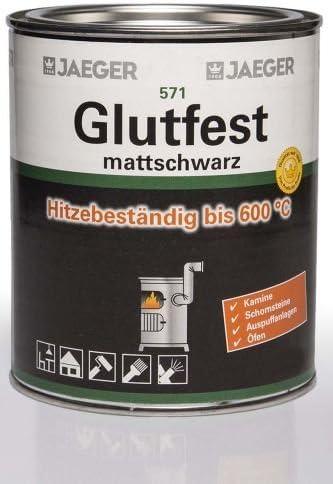 Jaeger Glutfest 571 Mattschwarz 2 5l Einbrennlack Hitzefester Lack Schwarz Matt Baumarkt