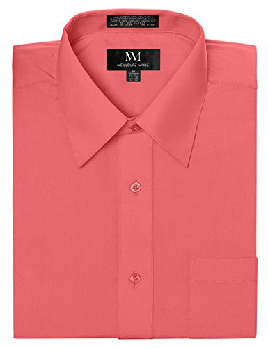 Meilleur Mode Men's Solid Color Regular Fit Long Sleeve Dress Shirt S-5XL