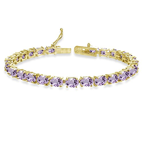 Gemstone Amethyst Gold Bracelets - Yellow Gold Flashed Sterling Silver 6X4mm Amethyst Oval-cut Tennis Bracelet