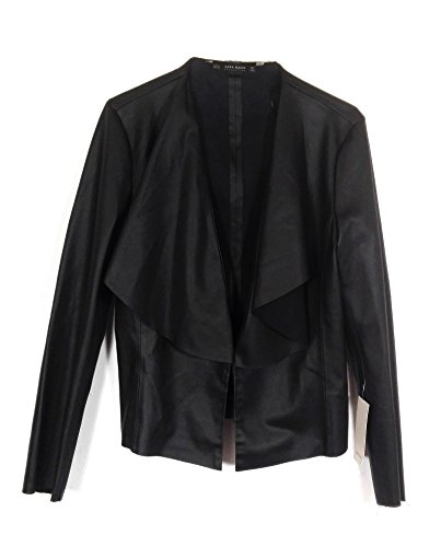 Zara Women Faux Leather Jacket With Flowing Lapels for sale  Delivered anywhere in USA