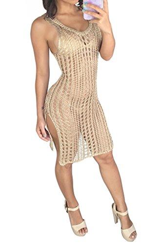 Les Femmes Blansdi Ramassent À Tricoter Dos Nu Manches Col Évider Fendu Clubwear Kaqi Robe Midi