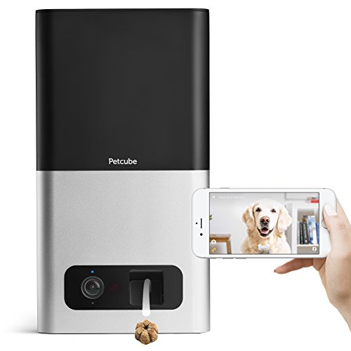 Petcube Bites Pet Camera with Treat Dispenser: HD 1080p Video Monitor with 2-Way Audio, Night Vision, Sound and Motion Alerts. Designed for Dogs and Cats