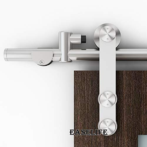 EaseLife 6 FT Stainless Steel Sliding Barn Door Hardware Track Kit - Heavy Duty - Anti-Rust Anti-Corrasion - Slide Smooth Quiet - Easy Install- Fit 30''~36'' Wide Door - 6FT Track Single Door Kit by EaseLife (Image #2)