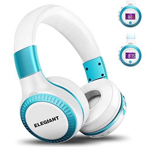 Bluetooth Headphones, ELEGIANT On Ear Bluetooth Headset Foldable with Mic FM Radio Micro SD Card Slot Wired and Bluetooth Headphones for iPhone X 8 7 6S 6/Android Phones/i Pad/Laptop/ PC White & Blu