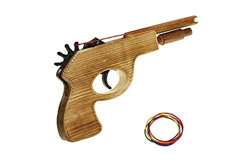 Jugetutto - Pistola dispara gomas I - Juguete de madera Juguetutto
