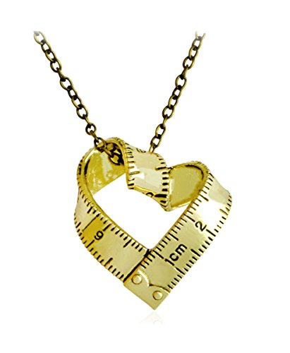 Price comparison product image Kebaner Rotate Love Heart Shape Hair Stylist Hairdresser Ruler Metal Pendant Necklace Best Friend Gifts