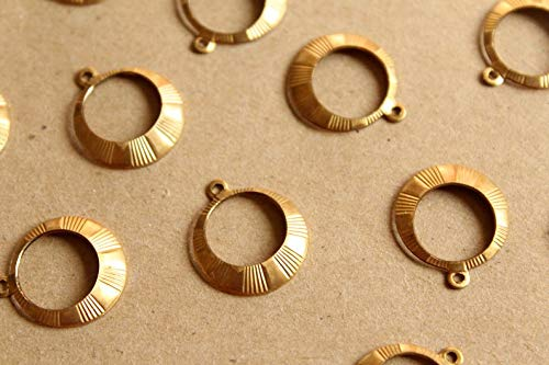 8 pc. Raw Brass Gypsy Hoop Dangle Charms : 18mm by 16.5mm