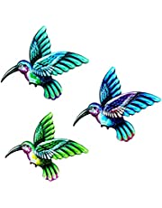 BWWNBY Metal Hummingbird Wall Decor Bathroom Glass Art Iron Sculpture Outdoor Green Hanging Decoration for Home Bedroom Garden Patio Porch or Fence