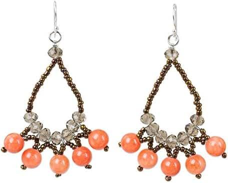 NOVICA Quartz .925 Sterling Silver Glass Beaded Earrings 'Orange Harmony'