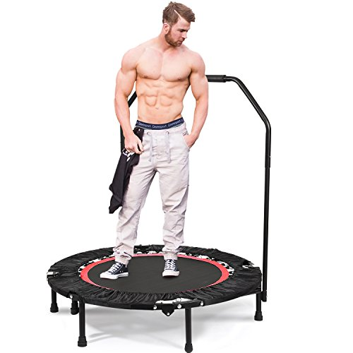 Tomasar Mini Trampoline Rebounder, Max Load 220lbs Rebounder Trampoline Exercise Trampoline with Adjustable Handrail for Indoor/Garden/Workout Cardio (US Stock) (Red)