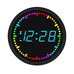 JUNNONG Round Multi-Color Circling LED Digital Wall And Table Time Clock