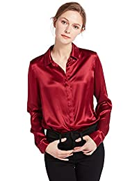 Women's 100 Silk Blouse Long Sleeve Lady Shirt 22 Momme Pure Charmeuse Silk