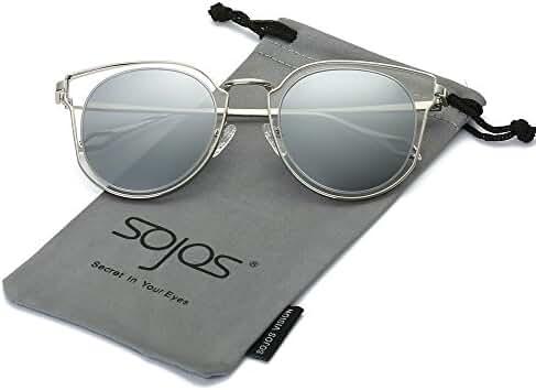 SojoS Round Vintage Mirror Lenses UV Protection Polarized Unisex Sunglasses SJ1057
