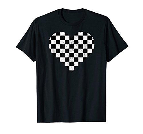 Checkered love heart black and white plaid distressed tshirt -
