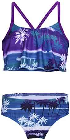 79dbce9584 FEESHOW Big Girls Youth Tie-Dye Two Piece Tankini Swimsuit Halter Bathing  Suit Tank Top