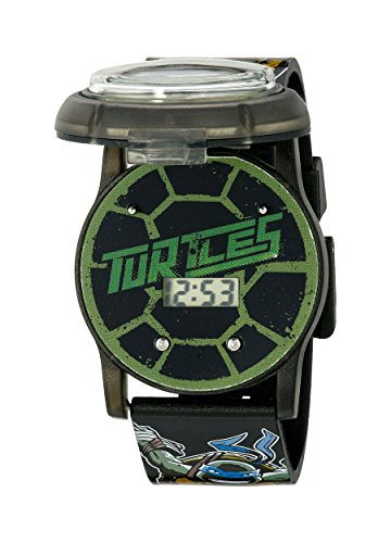 Ninja Turtles Kids' Digital Watch with Pop Open Top/Casing, Flashing LED Lights, Black Strap - Official TMNT Characters on The Top, Safe for Children - Model: TMN4205]()