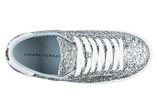 FERRAGNI Trainers Silver Leather Sneakers Shoes Women's CHIARA WfOnUgW