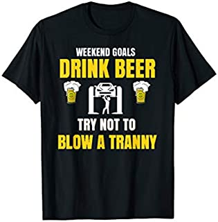 Drink Beer Weekend Goals Funny Racing Short Sleeve T-shirt | Size S - 5XL