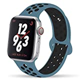 YC YANCH Greatou Compatible for Apple Watch Band 42mm 44mm,Soft Silicone Sport Band Replacement Wrist Strap Compatible for iWatch Apple Watch Series 4/3/2/1,Nike+,Sport,S/M,Celestial Teal Black