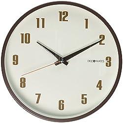DecoMates Non-Ticking Silent Wall Clock, Retro, Brown