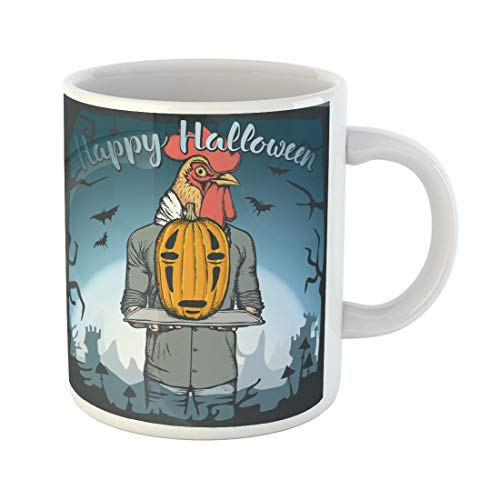(Tarolo 11 Oz Mug Coffee Mug Ceramic Tea Cup Chicken of Rooster Celebrating Halloween Pumpkin Animal Autumn Bird Body Large C-handle Family and Office)