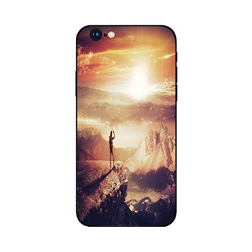 Phone Case Compatible with iphone6 Plus iphone6s Plus mobilephoneprotectingshell Brandnew Tempered Glass Backplane,Adventure,Traveler Woman with Backpack on Mountain Surveying Sunset Adventure Phot ()