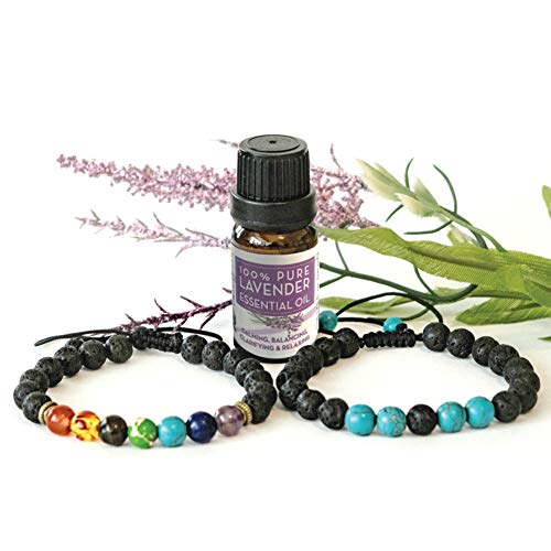 2 Adjustable Aromatherapy Bracelet Diffusers Gift Set (Lava Stones with Chakra Bracelet & Turquoise Bracelet) with10ml Lavender Essential Oil - Yoga Bracelet