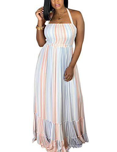 (Akmipoem Women's Colorful Striped Chiffon Halter Neck Maxi Long Dress )