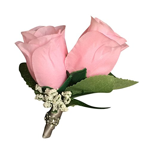 Pin Boutonniere - Baby Pink Rose with Baby Breath Accent,silver Gray Ribbon. (Babys Breath Florist)