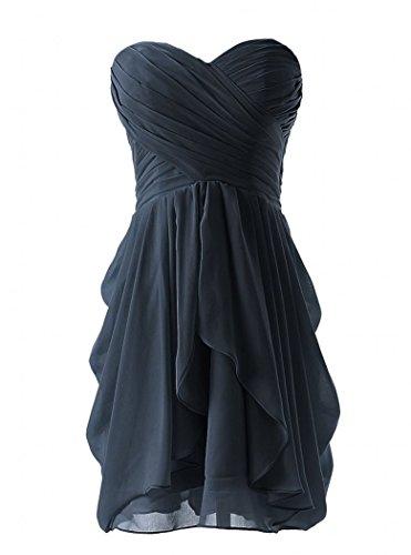 Simples Robes De Demoiselle D'honneur De Menthe En Mousseline De Soie Plissées Court Bleu Marine Des Femmes De Mariée Anna