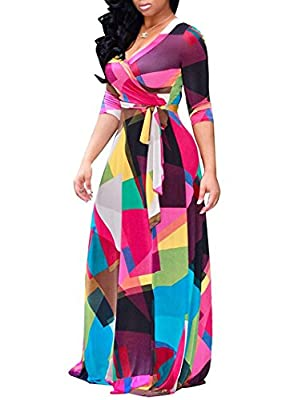 Locryz Women's V Neck 3/4 Sleeve Digital Floral Printed Party Loose Long Maxi Dress with Belt S-3XL