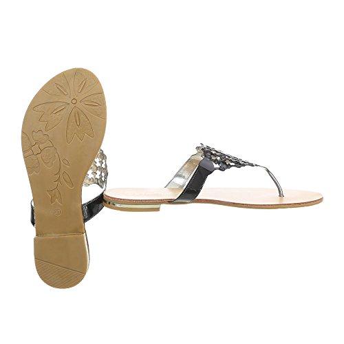 37 Ital Design Zehentrenner 44 Damenschuhe Blockabsatz Sandalen amp; Schwarz Sandaletten qqPwHxr