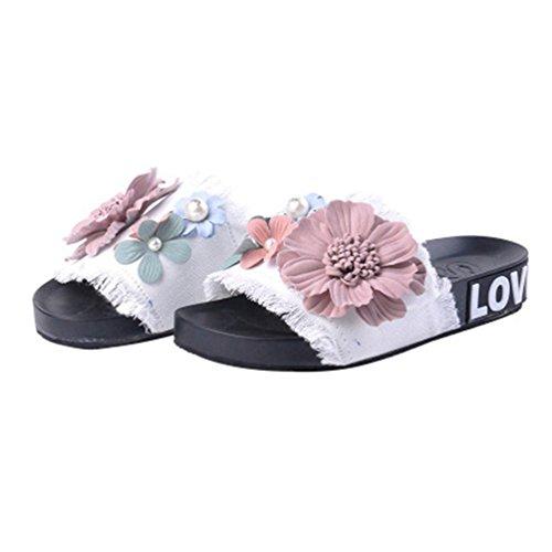 Plate Jitian forme Beach Anti Blanc Coulissante Denim Flat Femmes dérapante Sandales Extérieur Fleurs Pantoufles Confort Summer rg40wBrq