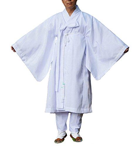Altair Men Water Silk Robe, Korea Traditional Men Clothing Dopo, Halloween Costumes (Jade Green, -