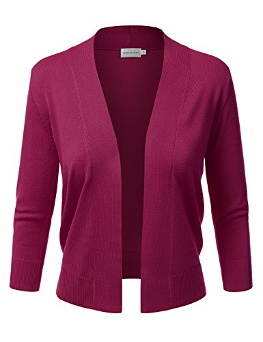 (JJ Perfection Women's Basic 3/4 Sleeve Open Front Cropped Cardigan Magenta)