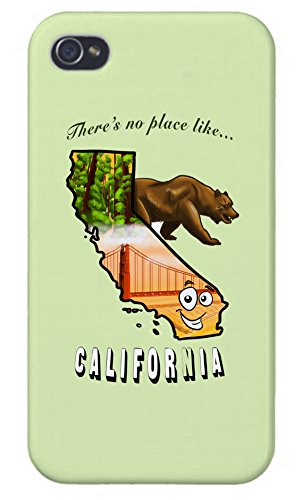 (Apple iPhone Custom Case 4/4s White Plastic Snap on - There's No Place Like California)