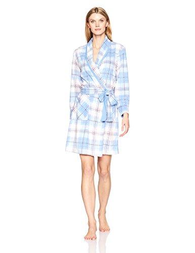 Jockey Women's Microfleece Long Robe, Dizzy Plaid, S/M -