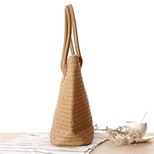 Bolso A de Grande Cremallera caqui Paja con Bolsa Beach Mujer Holiday Straw para Bag Straw Playa Zipper Yunn de Bolsa Summer Tote Playa Grande de wgqaxx7P