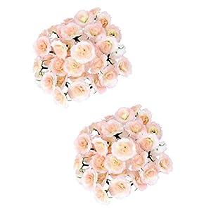 MagiDeal 100 Piece Artificial Silk Fake Rose Flower Heads Bulk Wedding Decor Pink 54