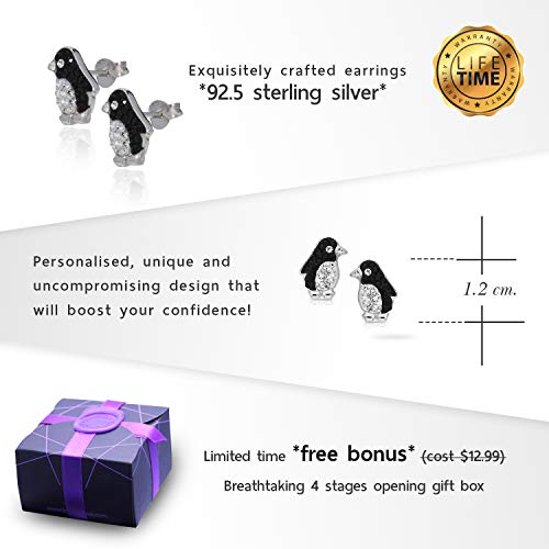 Cute Crystal Penguin Earrings Never Rust 925 Sterling Silver Natural and Hypoallergenic Studs For Women and Girls with Free Breathtaking Gift Box for Special Moments of Love By BLING BIJOUX by BLING BIJOUX (Image #3)