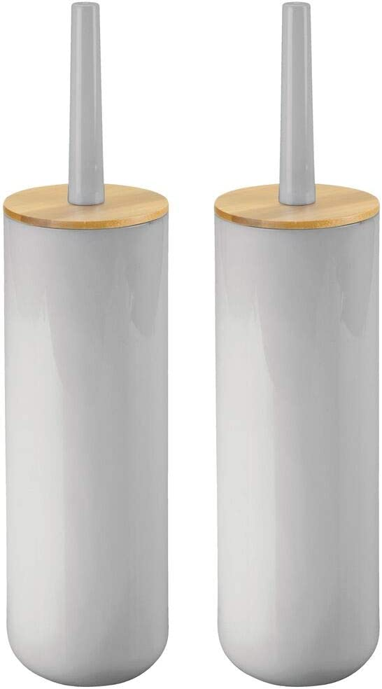 mDesign Compact Freestanding Plastic Toilet Bowl Brush and Holder for Bathroom Storage - Plastic and Bamboo - Sturdy, Deep Cleaning - 2 Pack - Gray/Natural Wood Finish