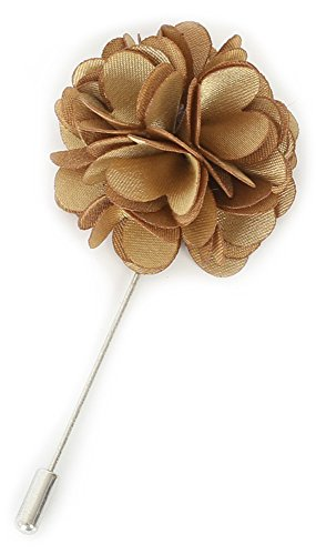Flairs New York Gentleman's Essentials Premium Handmade Flower Lapel Pin Boutonniere (Pack of 1 Pin, Champagne Gold (Gold Flower Pin)