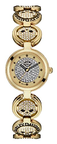 Harley-Davidson Women's Crystal Coin Link Willie G Skull Watch, Gold 78L122