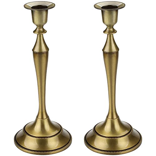 CBTONE Metal Taper Candle Holder Set of 2 Bronze Candlestick Holder Candelabra Candle Stand for Wedding Ceremony Party Home ()